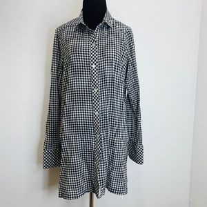 Tops Gingham fabric long-Sleeve
